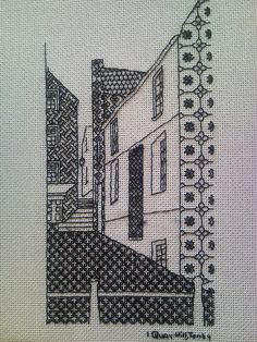 View of Quay Hill, Tenby in blackwork I embroidered it as a thank you for my stay. Blackwork Cross Stitch, Blackwork Embroidery, Cross Stitching, Cross Stitch Embroidery, Embroidery Patterns, Hand Embroidery, Thread Painting, Thread Art, Blackwork Patterns