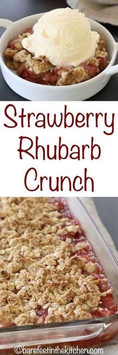 Strawberry Rhubarb Crunch - get the recipe at barefeetinthekitc. Strawberry Rhubarb Crunch - get the recipe at barefeetinthekitc. Rhubarb Desserts, Köstliche Desserts, Delicious Desserts, Dessert Recipes, Fruit Deserts Recipes, Rhubarb Cookies, Sugar Free Deserts, Gluten Free Deserts, Gluten Free Pie