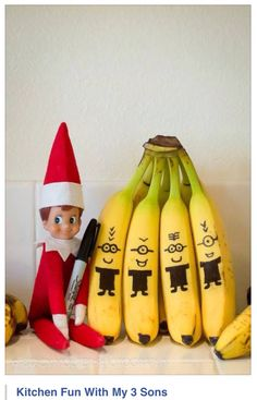 Elf On The Shelf Banana Minions By Fancy Shanty And Other Last Minute Elf Of The Shelf Ideas