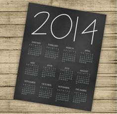 INSTANT DOWNLOAD  Printable 2014 calendar  8x10 by ByYolanda, €3.00