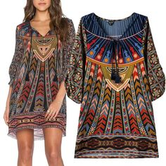 9708e02bb95c03 for placed print   v-neckline. The rest is unimportant Hippie Dresses