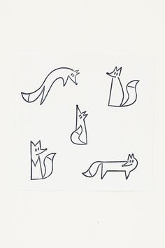 Playful fox stamps set, Cute fox birthday gift, Woodland fox fan gift, Small carved rubber stamps, f - Care Ideas Tips Diy Wrapping Paper, Wrapping Gifts, Cute Stationary, Cute Doodles, Easy Drawings, Simple Animal Drawings, Fox Drawing Easy, Cute Small Drawings, Small Gifts
