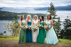 multiple shades of blue and green, multicolored bridesmaid dresses