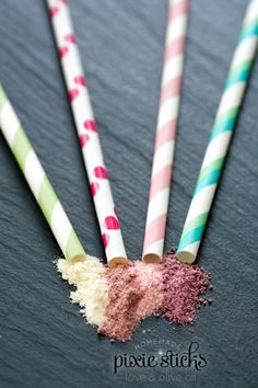 gourmet homemade pixie sticks.. i can't decide if this is an absurdity or just kind of awesome... seeing as how i loved pixie stix as a kiddo, i am going to decide to love it and give it a try....