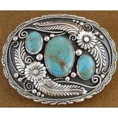 Image detail for -Kingman Arizona Turquoise Sterling Silver Belt Buckle …