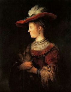 Rembrandt Harmenszoon van Rijn (Dutch, 1606-1669) - Half-length Figure of Saskia van Uylenburgh in a Red Hat, 1634