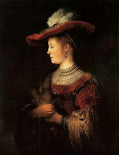 Rembrandt Harmenszoon van Rijn (Dutch, 1606-1669) - Half-length Figure of Saskia van Uylenburgh in a Red Hat, 1634