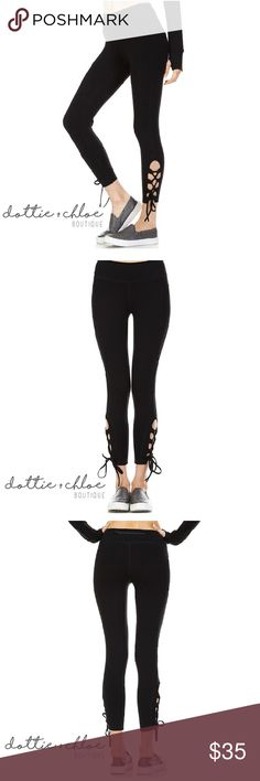 Criss Cross Tie Up Yoga Athletic Leggings ❗️COMING SOON ❗️  Estimated ship date: Thursday, October 20th, 2016  Hit the gym or yoga class in style with these criss cross tie up leggings.   ⭐️ No trades.  ⭐️ Price is firm unless bundled.  ⭐ Custom bundles available - just ask! dottie + chloe Pants Leggings