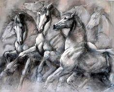 Painted Horses, Horse Drawings, Bird Drawings, Horse Canvas Painting, Custom Paint Motorcycle, Arabian Art, Horse Artwork, Art Original, Animal Sketches