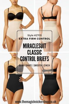 These FABULOUS Miraclesuit High Waisted Control Briefs are a CLASSIC piece of shapewear. They are super firm in control and will really slim your bottom, hips, tummy and waist. They will make you look pounds lighter with little effort. If you need help choosing your Miraclesuit Control Briefs please get in touch at www.themagicknickershop.co.uk. MIRACLESUIT | SHAPEWEAR | CONTROL BRIEFS | EXTRA FIRM SLIMMING CONTROL | THE MAGIC KNICKER SHOP