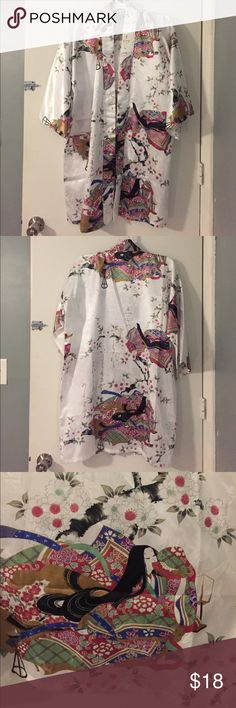 Japanese Kimono (authentic) White satin kimono. 35in long. Will fit any size small to large. Perfect condition, never worn. Made in Japan. Tops