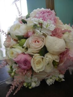 flowers by tina barrera  pink bridal bouquet peonies and garden roses