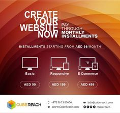 WEBSITE for 99 AED . . . Website is a MUST now a days. It can also bring in new customers.  If you don't have a website, create one or if your website is too old, revamp now.  DELAY NO FURTHER. . . Get your website for just 99 AED per month for 12 months.  ABSOLUTELY NO HIDDEN CHARGES. reach us at  0561 585 606 ( Available in call and Whatsapp) Visit : www.CubeReach.com