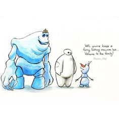 I absolutely love this! Its Marshmallow, Baymax, and Olaf! Too much cuteness in one pic :)
