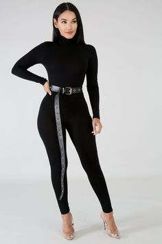 70s Women Fashion, Iranian Women Fashion, Womens Fashion Casual Summer, Suit Fashion, Fashion Outfits, Turtleneck Outfit, Long Sleeve Turtleneck, All Black Outfit, Black Jumpsuit Outfit