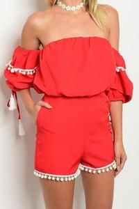 """""""Cabo"""" Romper - Red www.shopfashionstylist.com stylist code FASHION for free shipping on ALL outfits(dresses, rompers, tops, pants, shorts, jackets) SALE UP TO 50 percent off!! Go before they run out of items"""