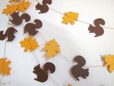 Paper Garland - Squirrels and leaves