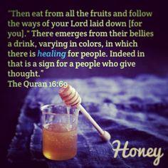 Qur'an verse about the benefits of honey. Allah u akbar