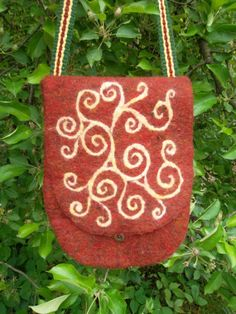 Felt bag purse Celtic spirals SCA by wanderingsheep on Etsy, $100.00