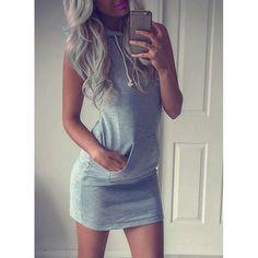 Stylish Hooded Sleeveless Pocket Design Bodycon Dress For Women | TwinkleDeals.com