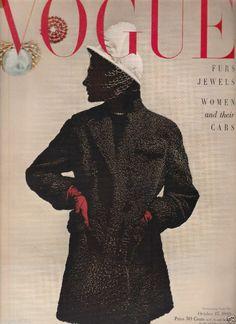 VINTAGE VOGUE  MAGAZINE OCTOBER 15, 1949 BLUMENFELD COVER- HORST PICTURES