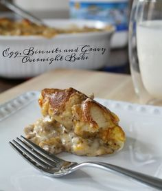 Egg, Biscuits and Gravy Overnight Bake - Hearty Breakfast Casserole Recipe on Having Fun Saving & Cooking Egg Biscuits, Biscuits And Gravy, Breakfast Casserole, Breakfast Recipes, Tuna Casserole, Easy Family Meals, Frugal Meals, Family Recipes, Easy To Make Breakfast