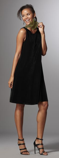 Velvet is on-trend and oh-so-feminine. This swing dress has a little bit of shine with a flattering silhouette.