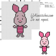 Piglet Disney Cuties free cross stitch pattern 50x50 4 colors