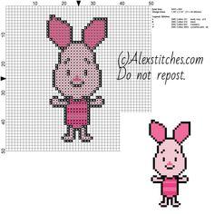 Piglet Disney Cuties free cross stitch pattern 50x50 4 colors