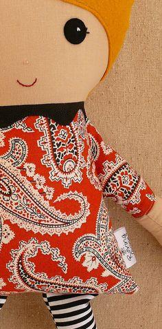 Fabric Doll Rag Doll Blond Haired Girl in Orange by rovingovine