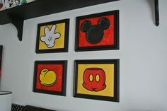 The pants, shoe, glove, and ears are actually plates which are mounted on fabric canvases and framed. So creative!