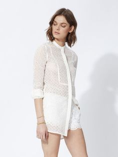 A ready-to-wear brand for women. Maje, Eyelet Lace, Fashion Labels, French Fashion, Shopping, Shirts, Tops, Women, Style