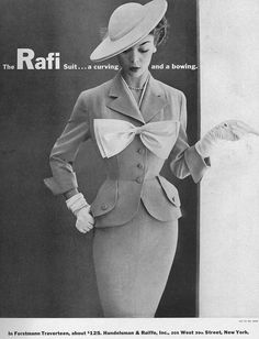 Harper's Bazaar, February 1952. I would have loved wearing styles similar to this. A lady was always a lady.