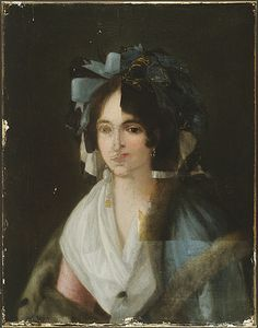 Portrait of a Woman, attributed to Goya (1746-1828). X-ray images taken of this painting in 1954 revealed a portrait of another woman, circa 1790, beneath the surface...