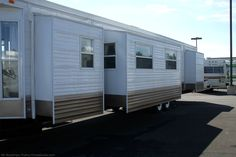 An RV travel trailer on the lot at Bullyan's in Minnesota. photo by Curtis at TheFunTimesGuide.com