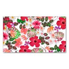 Girly modern pink white trendy tropical flowers Double-Sided standard business cards (Pack of 100)