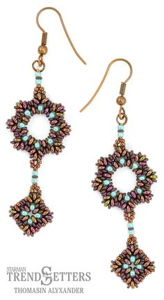 Masquerade Earrings featuring Demi Round seed beads by Thomasin 'Alyx' Alyxander
