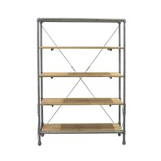 Books, trinkets, and more look edgier than before when displayed on this undeniably cool bookshelf. Pipe-style metal framing with a sturdy X back makes a great contrast with natural-toned wood shelves for an industrial touch anywhere.