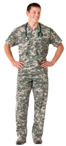 This is on Amazon, camo for nurses, haha, still can't hide! White Swan Unisex Scrub Set; Color = Camo; Size Large