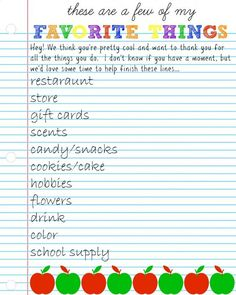 Teacher Appreciation Week Discover teachers favorite things questionnaire - A wonderful idea for beginning of the school year. PTA the school or prenatal can keep on hand. Pta School, Back To School Teacher, Student Teacher, School Gifts, Student Gifts, School Days, School Events, School Stuff, Teacher Treats