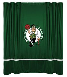 Boston Celtics NBA Sports Coverage Team Color Shower Curtain Sidelines  #SportsCoverage #BostonCeltics