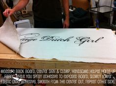 How to make a craft booth sign.  Great tips for any writing/design on textile.