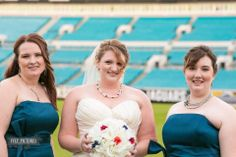 Anne wearing a double strand twisted Swarovski pearl necklace I made for her wedding day, at Jacksonville Jaguars stadium.