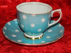 Vintage Royal Albert Bone China Robins Egg Blue Polka Dot