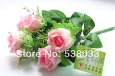 3 Bouquet 5 buds large bud rose  Silk Flower Gift  wedding home decorative colorful flowers $15.89