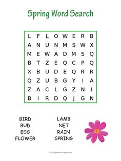 An easy spring word search to help younger children with spelling and reading comprehension. We have one for every season. Free for you to print.