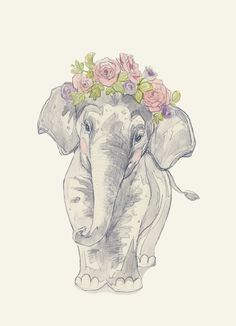 Elephant Flower Crown by annatyrrell on Etsy Elephant Love, Elephant Art, Elephant Tattoos, Elephant Drawings, Elephant Sketch, Watercolor Animals, Watercolor Art, Elephant Wallpaper, Art Graphique