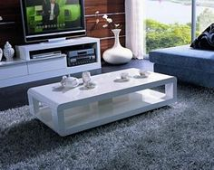 Modern White High-Gloss Lacquer Coffee Table