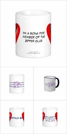 Heart Attack Coffee Mugs. A collection of coffee mugs to help educate and make people aware about Cardiovascular Disease (CVD) and Heart Attacks using promotional aids such as those listed here. Click on photo to view item then click on item to see how to purchase that item. #diabetes #diabetic #t2diabetes #t1diabetes #heartattack #cvd #cardiovasculardisease #hba1c #a1c #zipperclub #sca #suddencardiacarrest #mugs #zazzle