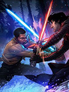 Superheroes In Full Color: Finn vs. Kylo Ren by Patrick Brown